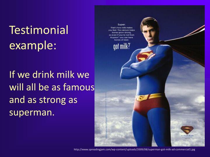 Testimonial example: