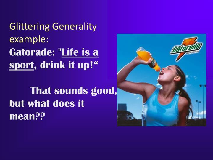Glittering Generality example