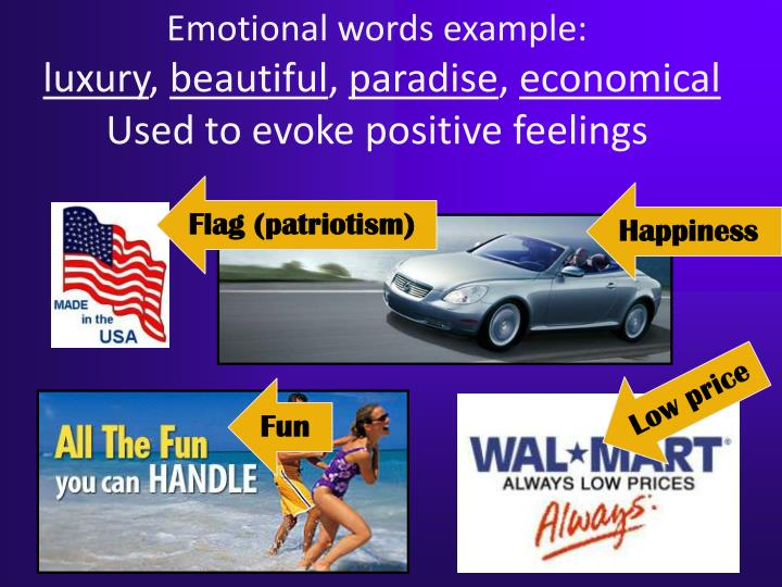 Emotional words example: