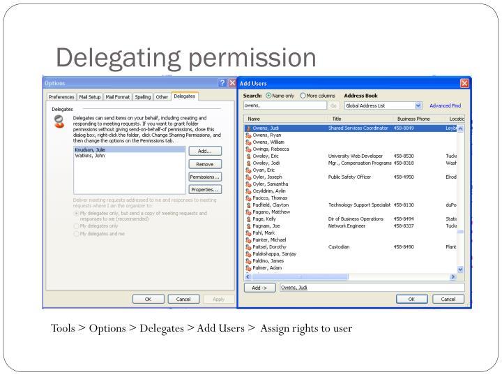 Delegating permission