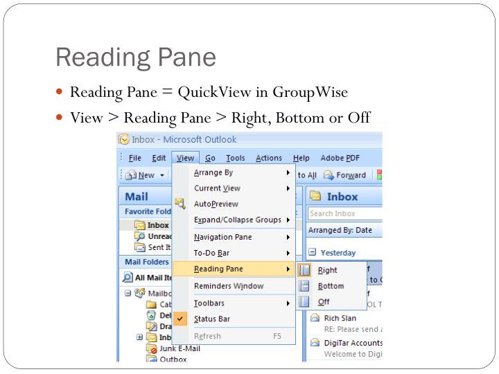 Reading Pane