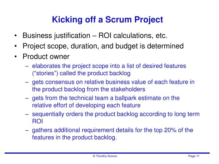 Kicking off a Scrum Project