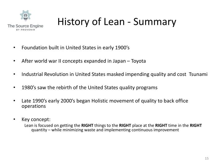 History of Lean - Summary