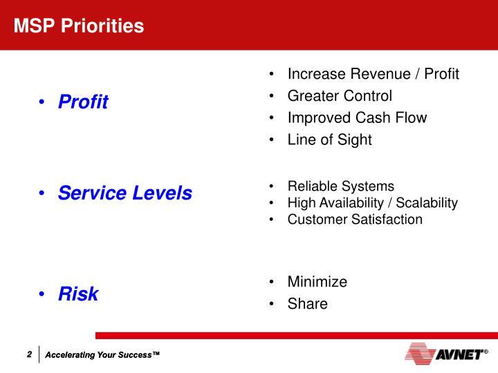 MSP Priorities