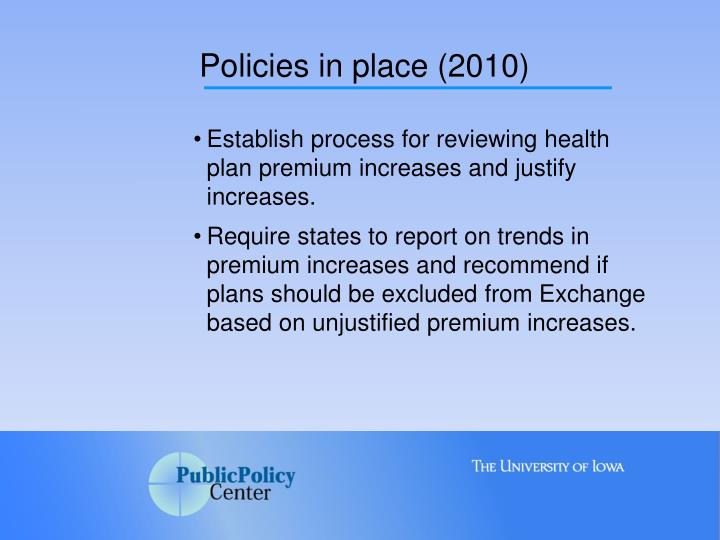 Policies in place (2010)