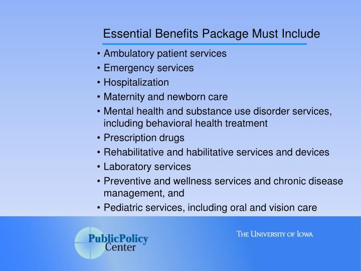 Essential Benefits Package Must Include