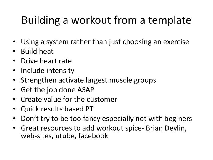 Building a workout from a template