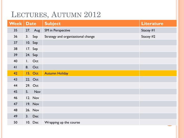 Lectures, Autumn 2012