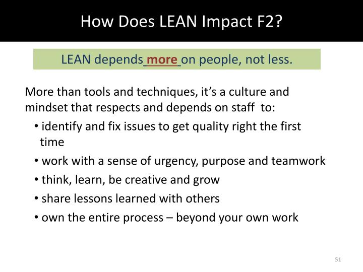 How Does LEAN Impact F2?