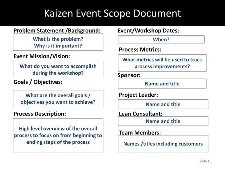Kaizen Event Scope Document