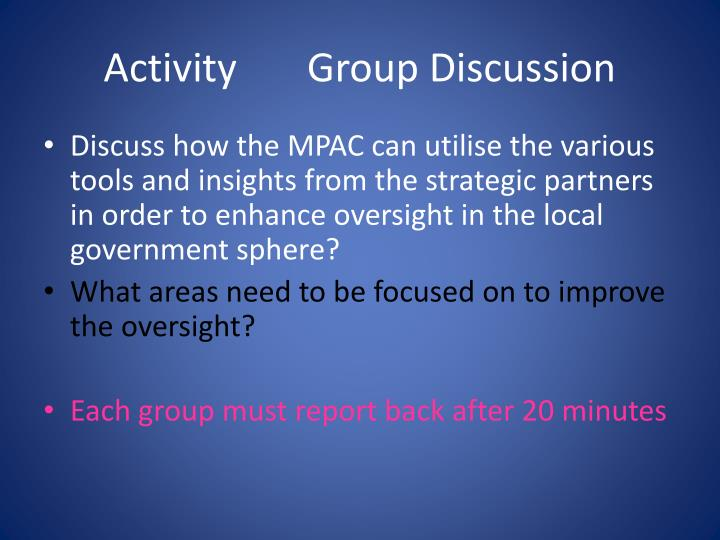 Activity       Group Discussion