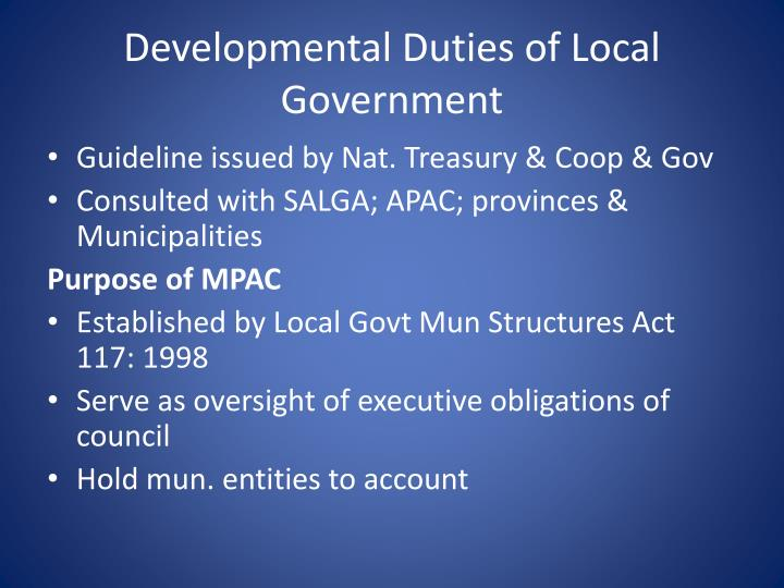 Developmental Duties of Local Government