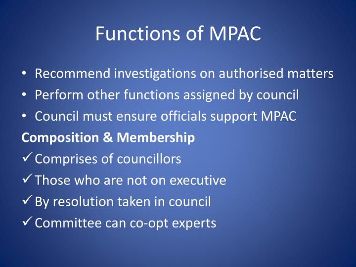 Functions of MPAC