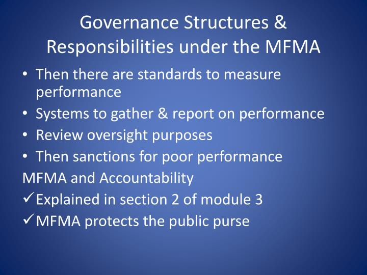 Governance Structures & Responsibilities under the MFMA