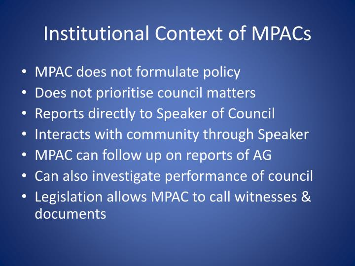 Institutional Context of MPACs