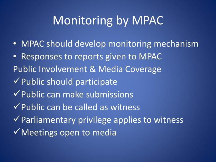 Monitoring by MPAC