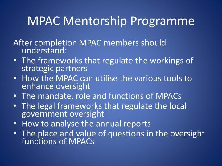 MPAC Mentorship Programme