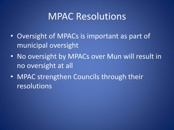 MPAC Resolutions