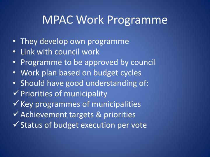 MPAC Work Programme