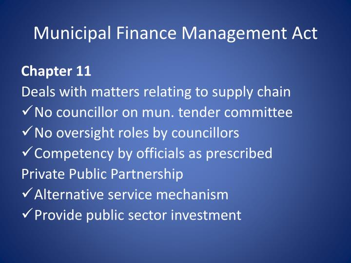 Municipal Finance Management Act