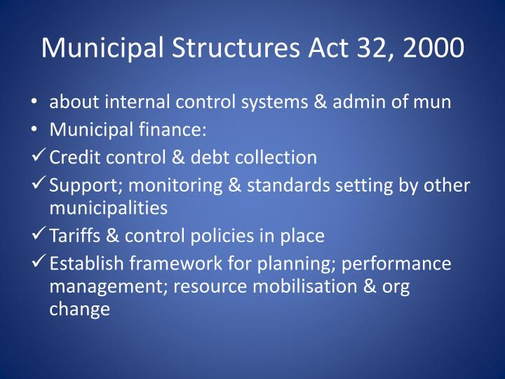 Municipal Structures Act 32, 2000