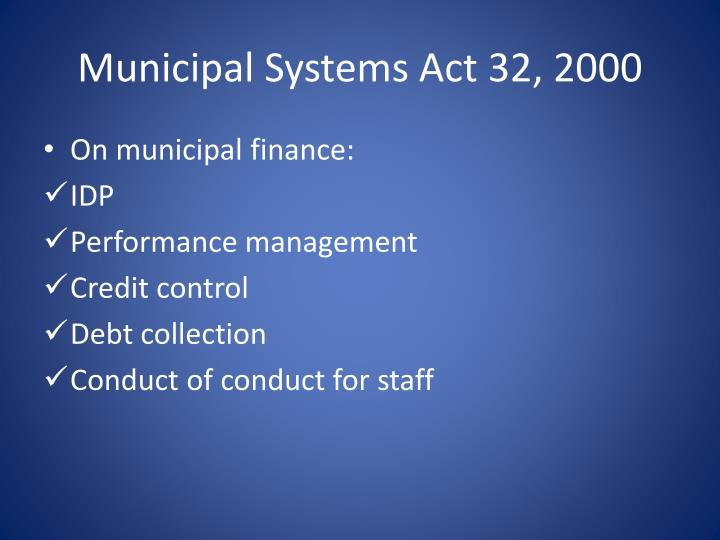 Municipal Systems Act 32, 2000