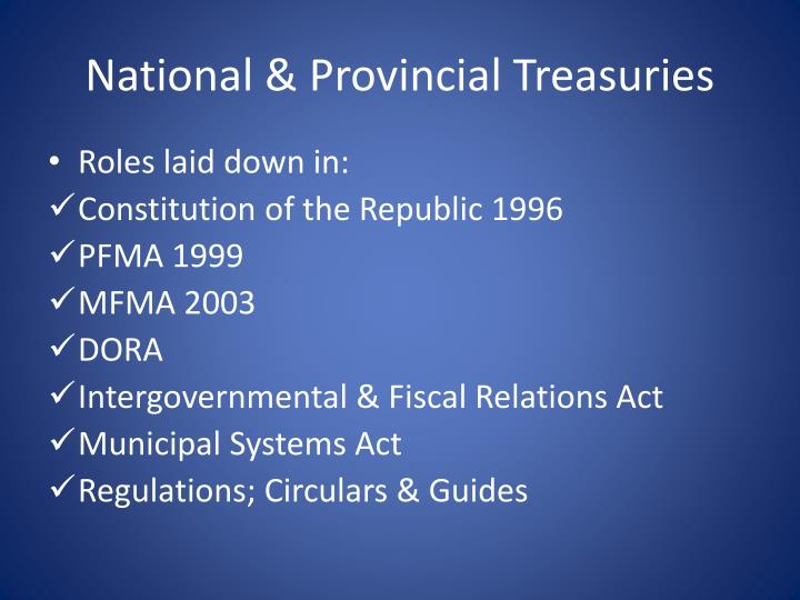 National & Provincial Treasuries