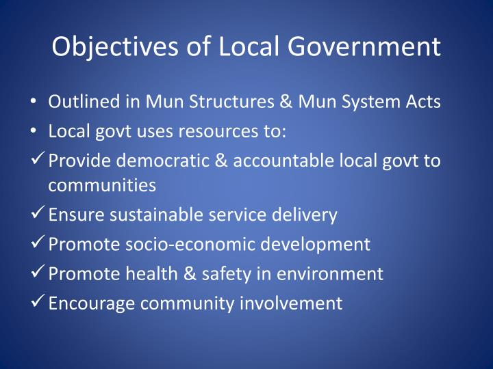 Objectives of Local Government