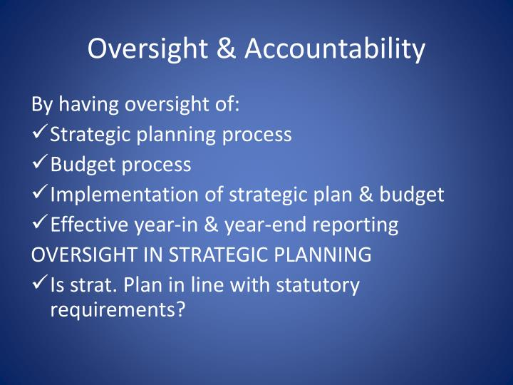 Oversight & Accountability