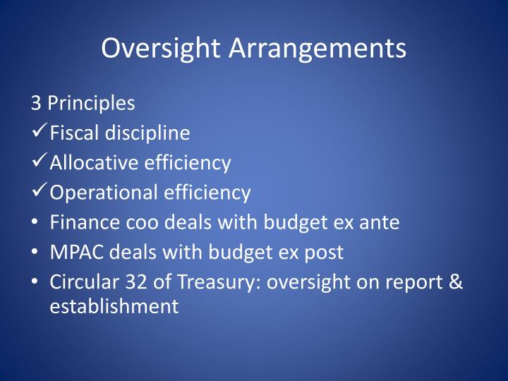 Oversight Arrangements