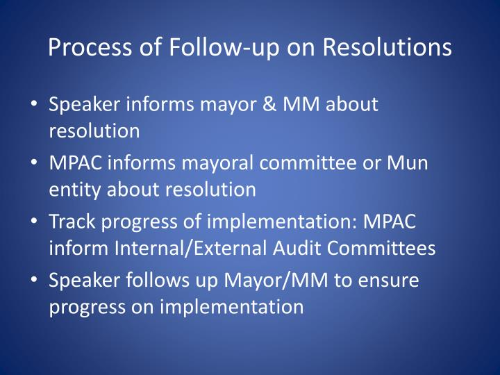 Process of Follow-up on Resolutions