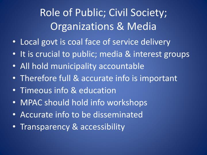 Role of Public; Civil Society; Organizations & Media