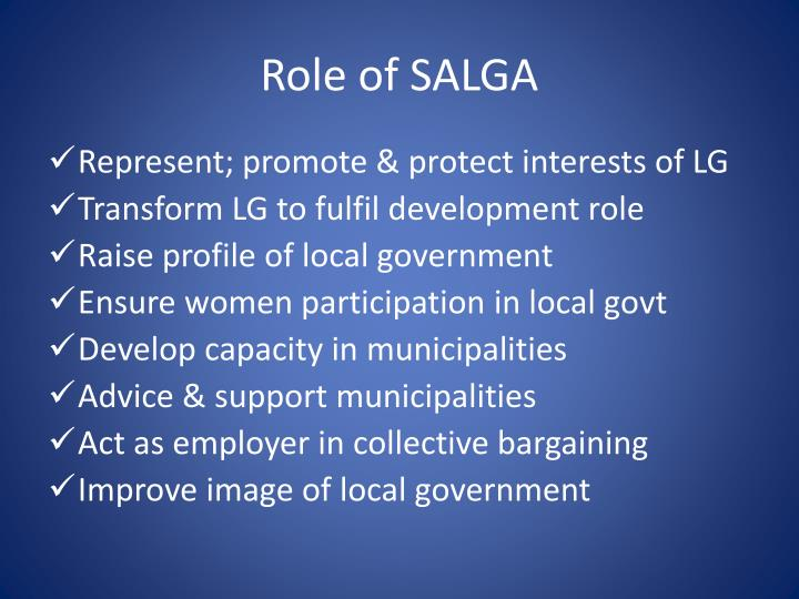 Role of SALGA