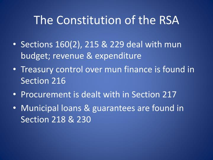 The Constitution of the RSA
