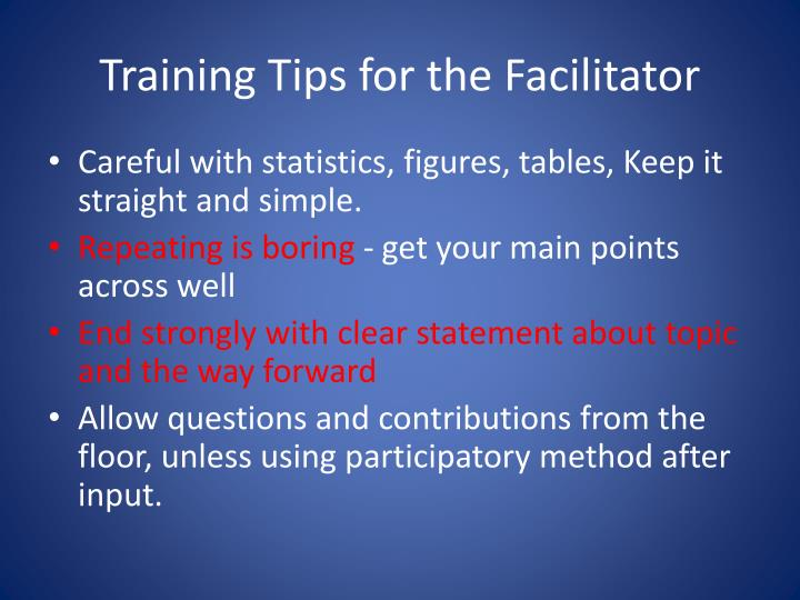 Training Tips for the Facilitator