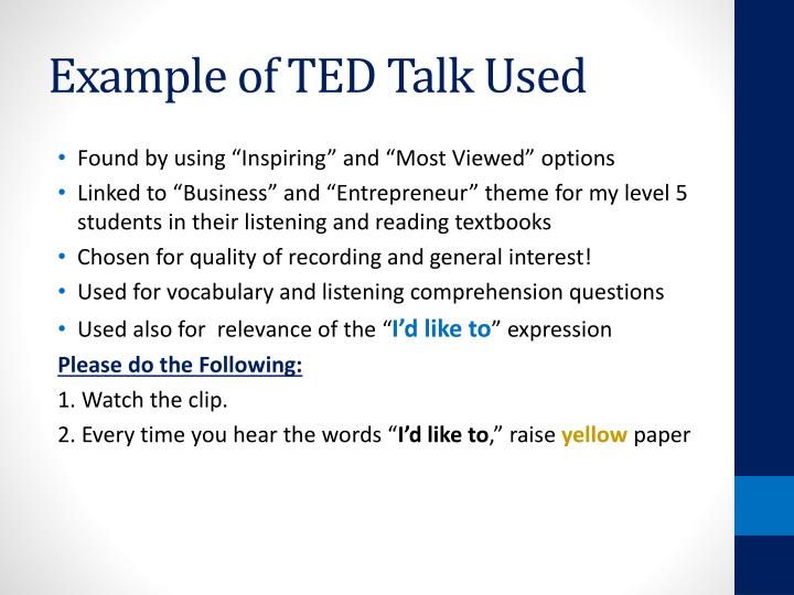 Example of TED Talk Used