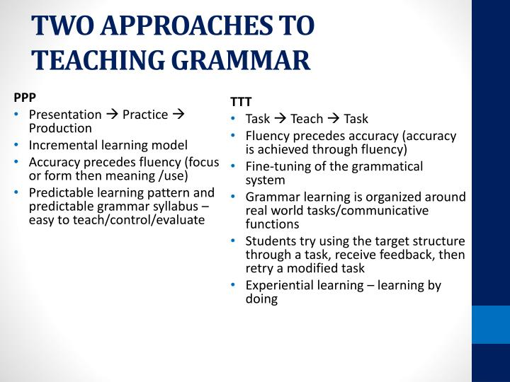 TWO APPROACHES TO TEACHING GRAMMAR