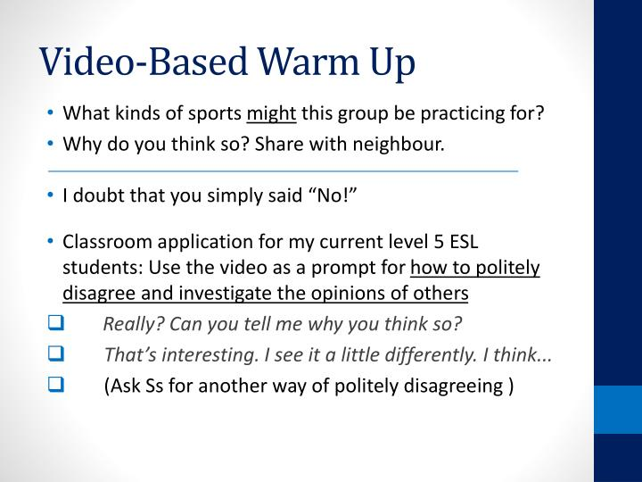 Video-Based Warm Up