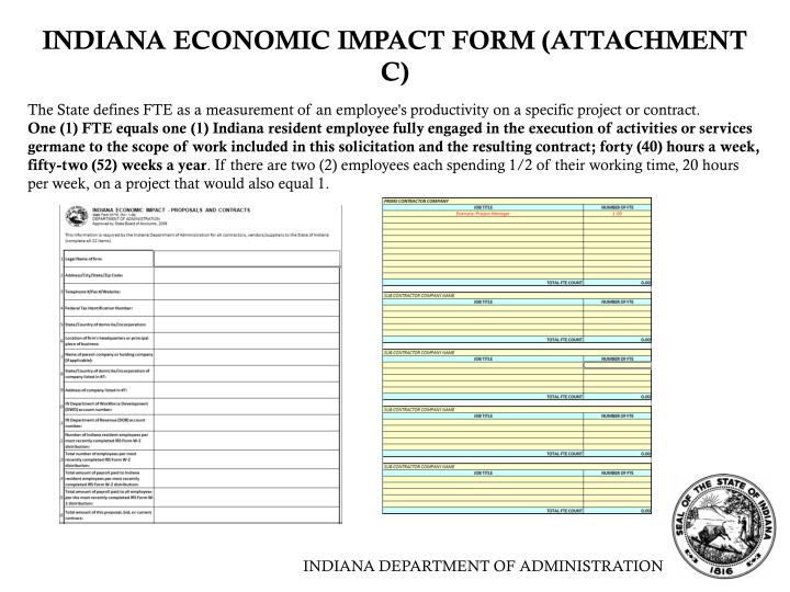 INDIANA ECONOMIC IMPACT FORM (ATTACHMENT C)