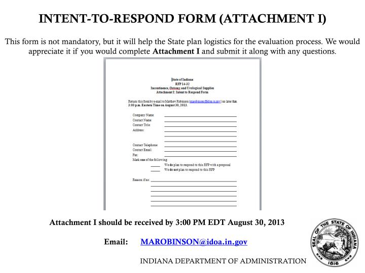 INTENT-TO-RESPOND FORM (ATTACHMENT I)