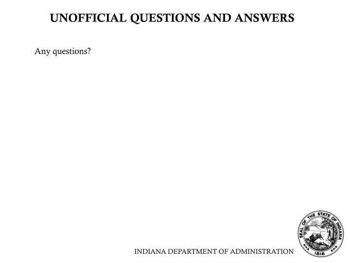 UNOFFICIAL QUESTIONS AND ANSWERS