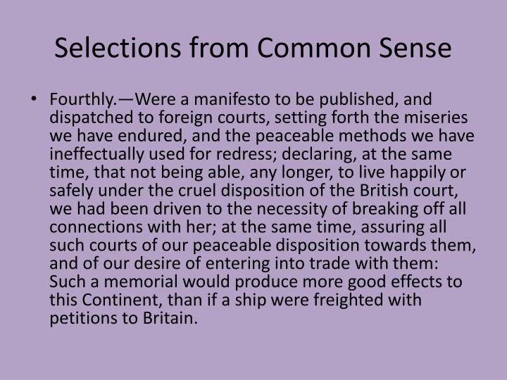 Selections from Common Sense