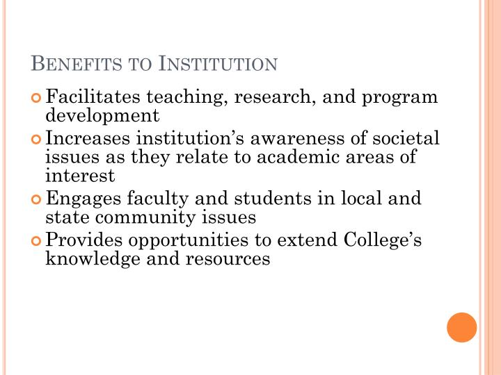 Benefits to Institution