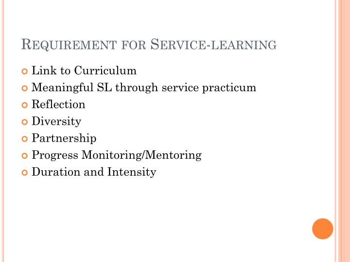 Requirement for Service-learning