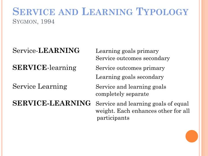 Service and Learning Typology