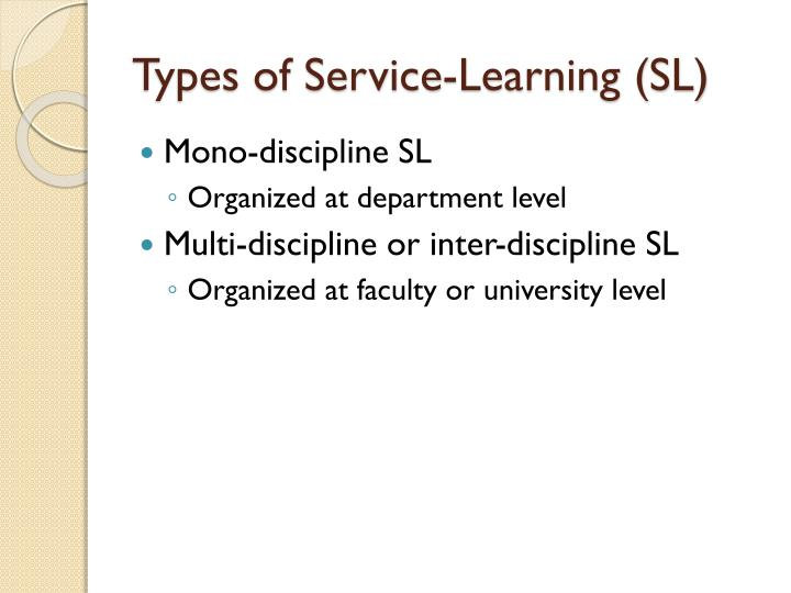 Types of Service-Learning (SL)