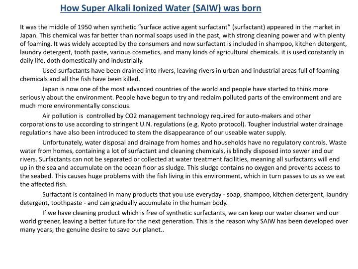 How Super Alkali Ionized Water (SAIW) was born