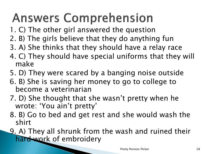Answers Comprehension