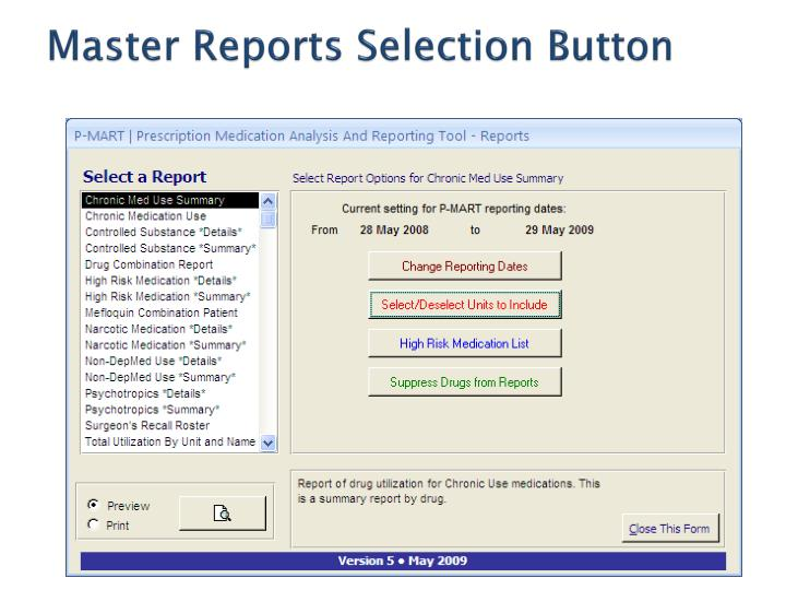 Master Reports Selection Button