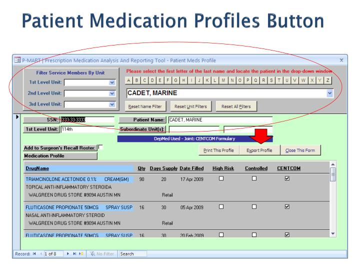 Patient Medication Profiles Button